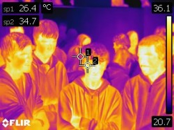 Students engaged with thermal imaging