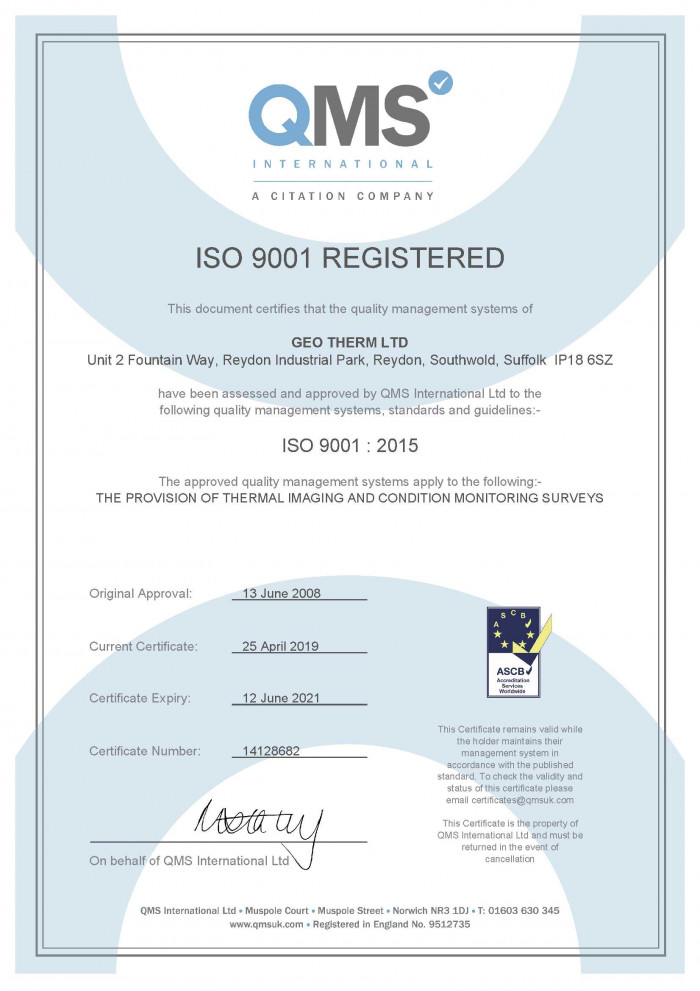 Geo Therm Ltd - ISO 9001 2015 Certificate